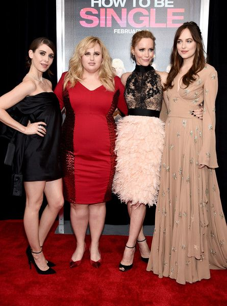 """(L-R) Actresses Alison Brie, Rebel Wilson, Leslie Mann, and Dakota Johnson attend the New York premiere of """"How To Be Single"""" at the NYU Skirball Center on February 3, 2016 in New York City."""