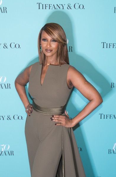 Model Iman arrives for the Harper's Bazaar and Tiffany & Co. celebration of 150 years of women, fashion and New York at The Rainbow Room in NYC.
