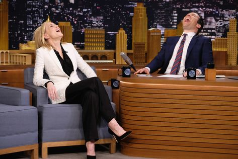 "Cate Blanchett Visits ""The Tonight Show Starring Jimmy Fallon"" at Rockefeller Center on January 23, 2017 in New York City."