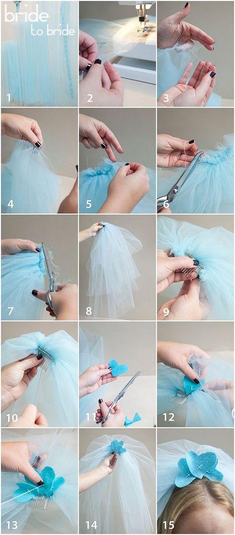 Как сделать фату из фатина своими руками пошаговое 47