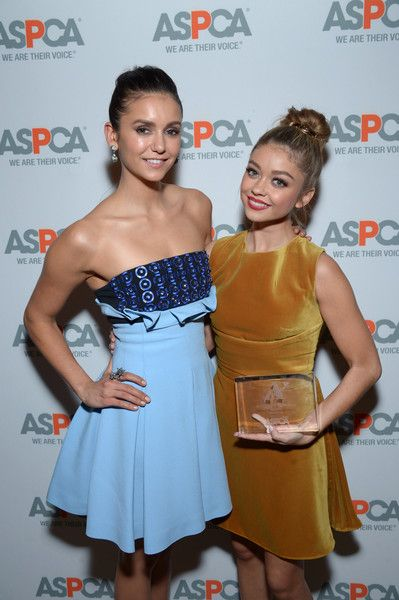 Actresses Nina Dobrev and Voice for Animals Award honoree Sarah Hyland attend ASPCA's Los Angeles Benefit.