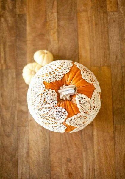 Doily Pumpkin - 101 Fabulous Pumpkin Decorating Ideas - Photos