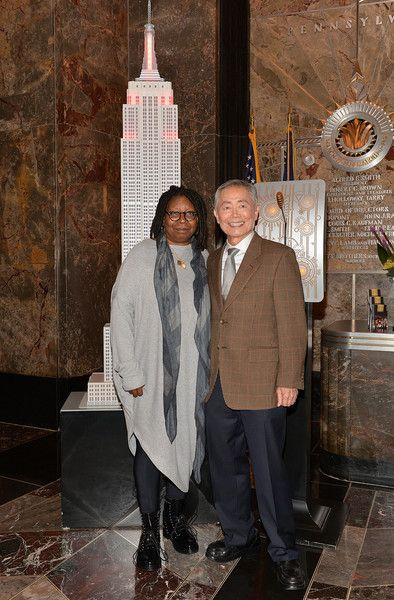 Whoopi Goldberg and George Takei attend a lighting ceremony at The Empire State Building in honor of World AIDS Day on November 30, 2015 in New York City.
