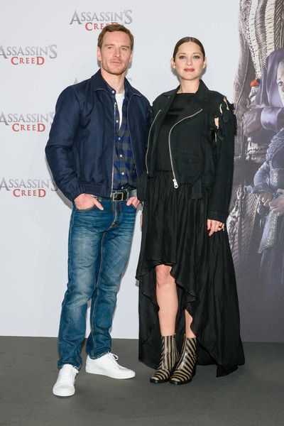 Michael Fassbender and Marion Cotillard attend the 'Assassin's Creed' Berlin Photocall.
