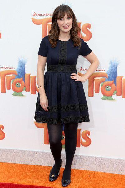 Zooey Deschanel attends the premiere of 20th Century Fox's 'Trolls' at Regency Village Theatre.