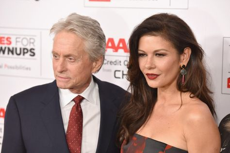 Actors Michael Douglas and Catherine Zeta-Jones attend AARP's 15th Annual Movies For Grownups Awards at the Beverly Wilshire Four Seasons Hotel on February 8, 2016 in Beverly Hills, California.