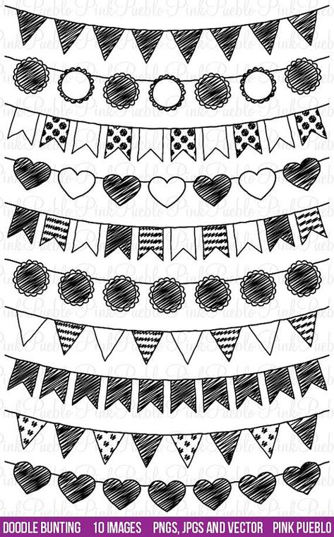 Doodle Bunting Clipart Clip Art, Doodle Flags Ribbons Banners Clipart Clip Art - Commercial and Pers