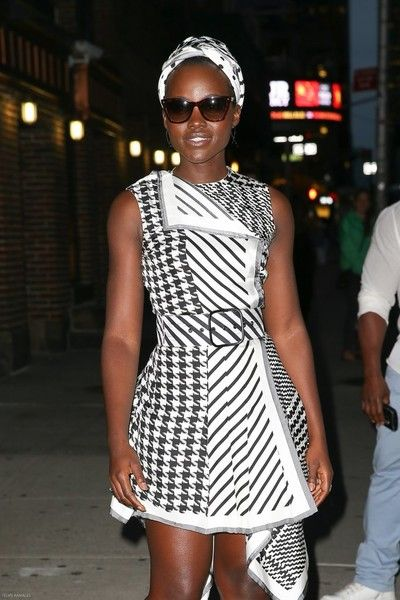 Actress Lupita Nyong'o is seen posing outside 'The Late Show with Stephen Colbert' in New York City, New York on September 28, 2016.