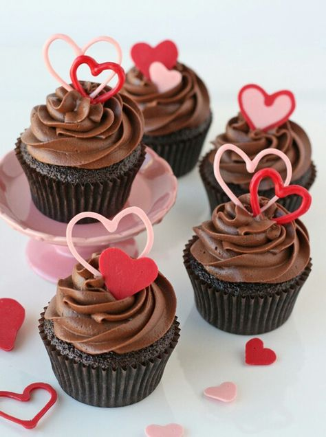 Chocolate Valentines Day cupcakes.