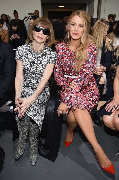 Anna Wintour (L) and actress Blake Lively attend the Michael Kors Collection Fall 2017 runway show at Spring Studios on February 15, 2017 in New York City.
