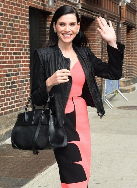 Celebrities making an appearance on the 'Late Show With Stephen Colbert' in New York City, New York on April 28, 2016.  Pictured: Julianna Margulies
