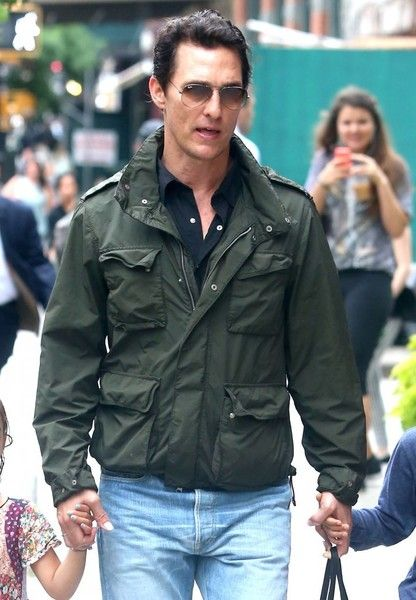 Matthew McConaughey takes his children Levi and Vida out in New York City.