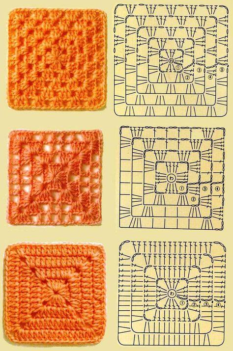 Мотивы квадраты вязание крючком 74