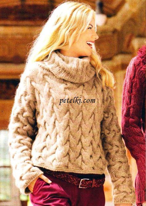 Вязание на спицах пуловер с косами 203