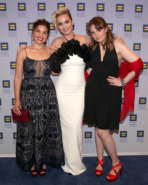 Actor America Ferrera, singer Katy Perry and actor Lena Dunham attend the Human Rights Campaign 2017 Los Angeles Gala Dinner.