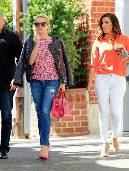 Actresses Reese Witherspoon and Eva Longoria were spotted out in Beverly Hills, California on February 10, 2016. The two were spotted leaving an office building.