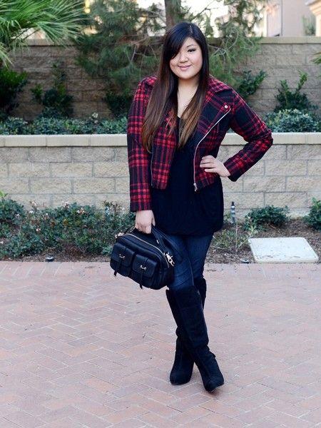 Tartan Motorcycle Jacket - Chic Ways to Wear Plaid This Winter - Photos
