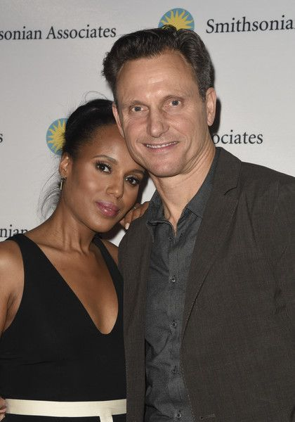 """Actress Kerry Washington and Tony Goldwyn pose on the red carpet during the """"Scandal-ous!"""" event hosted by the Smithsonian Associates with Shonda Rhimes and the cast of ABC's Scandals at the University of District of Columbia Theater of the Arts on April 28, 2016 in Washington, DC."""