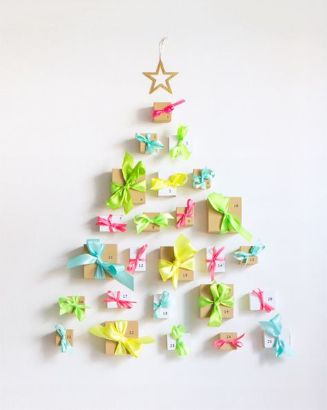 The Best Advent Calendars to Buy, Make, and Keep Forever—DIY Neon Ribbon Advent Calendar, see project for list of supplies.