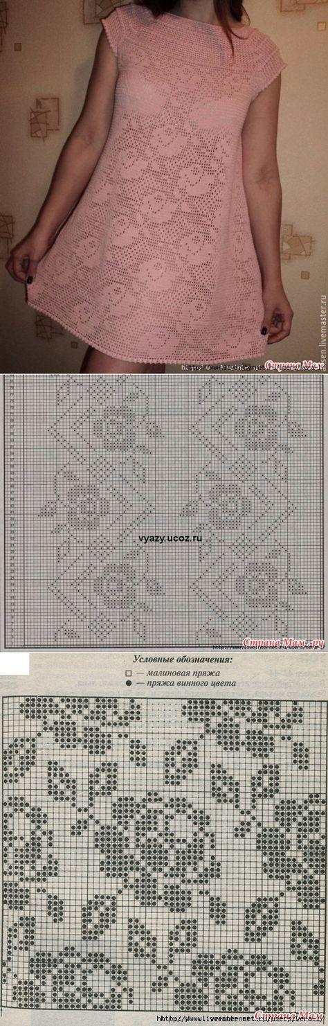 Туника вдохновение филейное вязание 73