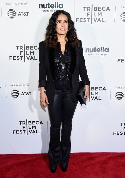 Salma Hayek attends the Tribeca Shorts: New York - Group Therapy at Regal Battery Park Cinemas on April 21, 2017 in New York City.