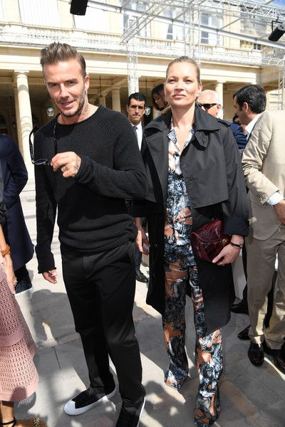 David Beckham and Kate Moss attend the Louis Vuitton Menswear Spring/Summer 2017 show as part of Paris Fashion Week on June 23, 2016 in Paris, France.