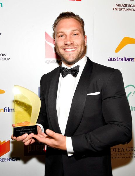 Actor Jai Courtney poses with his FOXTEL Breakthrough Award backstage during Australians in Film's 5th Annual Awards Gala.