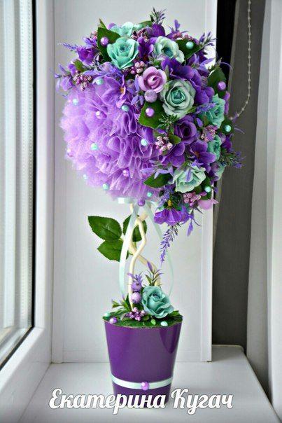Топиарий из цветов пошагово картинки