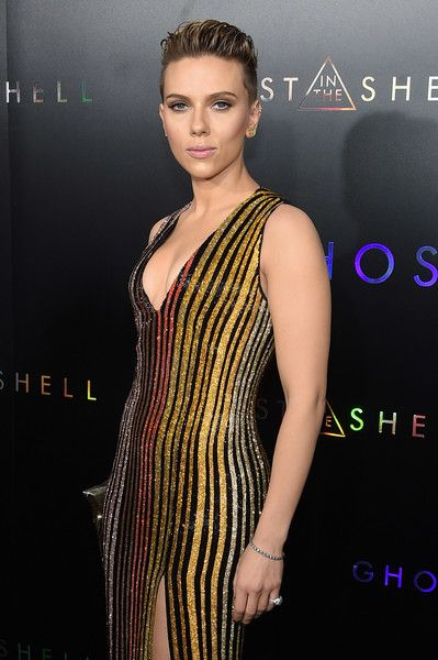 Scarlett Johansson attends the 'Ghost in the Shell' premiere in NYC.