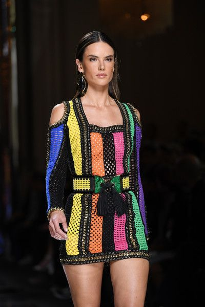 Alessandra Ambrosio walks the runway during the Balmain Menswear Spring/Summer 2017 show as part of Paris Fashion Week.