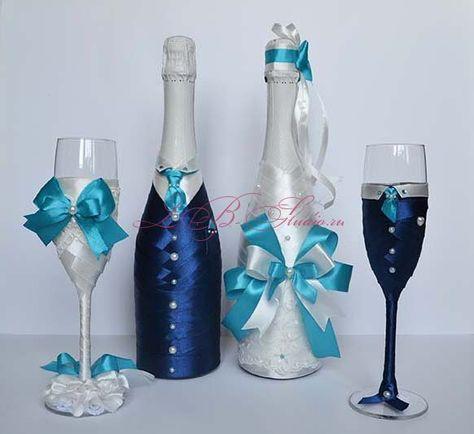 Украшения на бокалы и шампанское своими руками