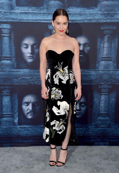 A Floral Bouquet in Erdem's Design - We Can't Get Enough of Emilia Clarke's Regal Red Carpet Style - Photos