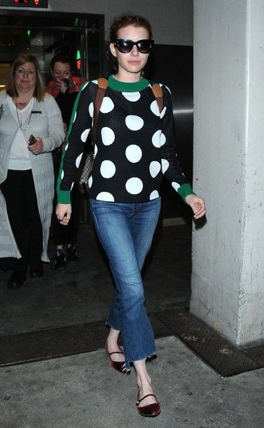 Emma Roberts is seen arriving on a flight at LAX airport.