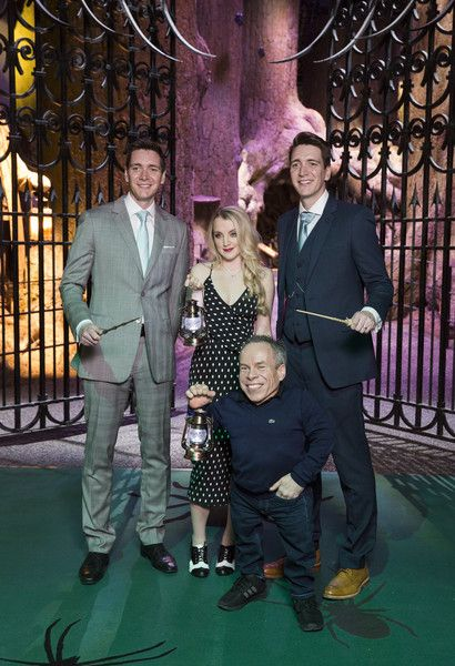 Warwick Davis, Evanna Lynch, Oliver Phelps and James Phelps attend the Warner Bros Studio Tour on March 28, 2017 in Watford, United Kingdom.