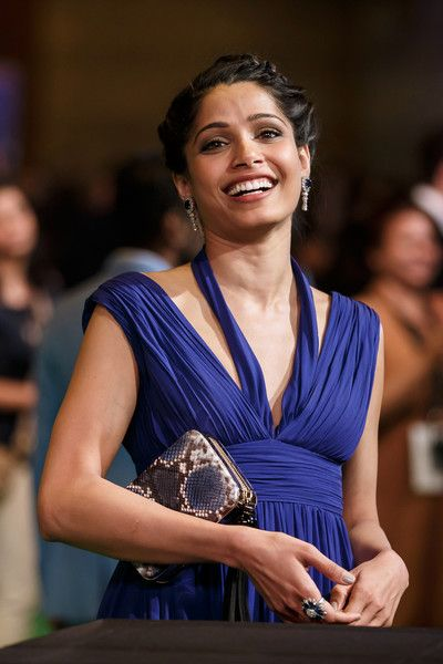 Indian Bollywood actress Freida Pinto poses on the green carpet as she arrives to the 17th edition of IIFA Awards (International Indian Film Academy Awards) in Madrid on June 24, 2016..The IIFA Awards are presented annually by the International Indian Film Academy to honour both artistic and technical excellence of professionals in Bollywood, the Hindi language film industry. / AFP / CESAR MANSO