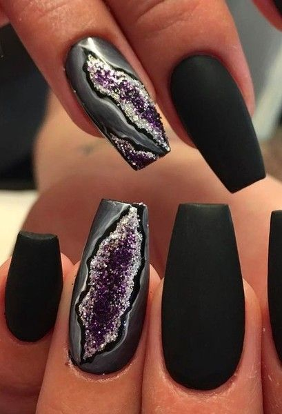Matte Amethyst Splinters - Gorgeous Geode-Inspired Designs Are the Newest Trend in Nail Art - Photos