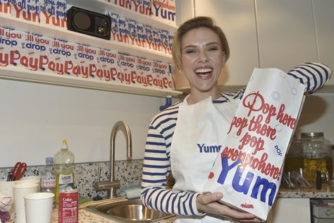 Scarlett Johansson attends the opening of the Yummy Pop shop where Scarlett Johansson opens the new store Yummy Pop in Le Marais.