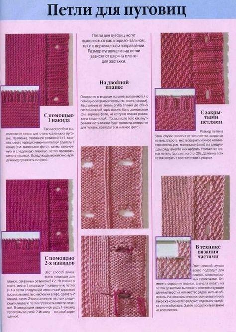 Вязание спицами как сделать для пуговиц дырки