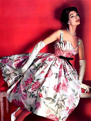 Simone in dress by Pierre Balmain, 1957