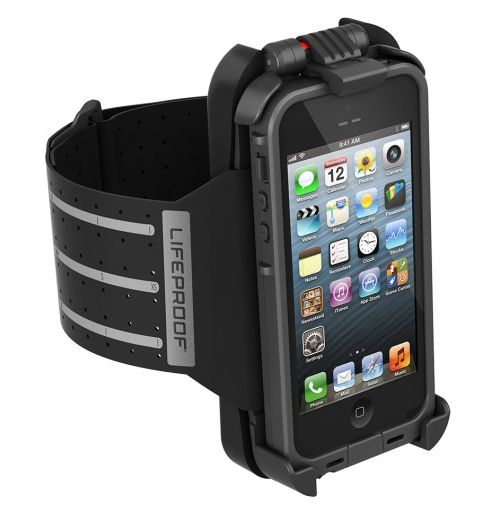 The new Lifeproof Fitness armband for iPhone 5. Smart way to keep your phone with you while you run, swim, or jumprope. heh.