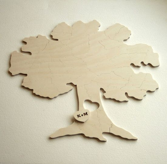 Wedding Puzzle Guest Book Tree. A guest book alternative. Your guests sign the puzzle pieces. Frame it later, or assemble it on anniversaries. (Bella Puzzles)