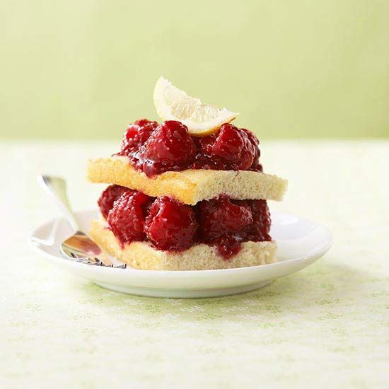 With fewer than 200 calories per serving, this Raspberry-Lemonade Shortcake will satisfy your craving for the classic dessert without excessive amounts of sugar. More healthy desserts: www.bhg.com/... #myplate