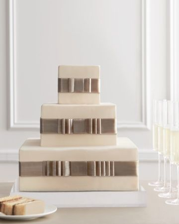 Square #Champagne #beige #chocolate #brown & #white #wedding cake … Budget wedding ideas for brides, grooms, parents & planners ... itunes.apple.com/...  plus tips on how to have a dream wedding, within any budget ? The Gold Wedding Planner iPhone #App ? #wedding #ceremony #reception #bride #bridesmaids #groom #groomsmen #bouquets #dresses #rings #cakes #tables #favors #tableIdeas …