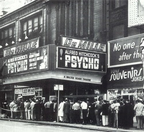 Moviegoer's waiting in line to see 'Psycho', 1960.