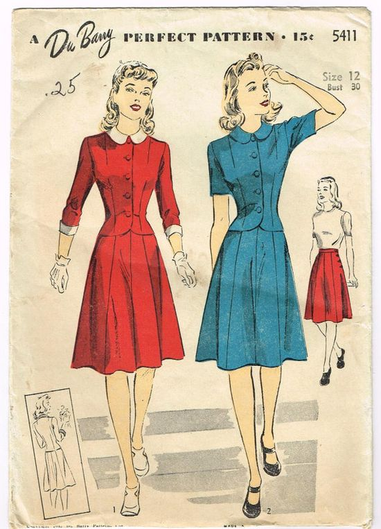 Two Piece Dress Pattern with Fitted Jacket and Side Buttoned Skirt -Du Barry 5411. #vintage #1940s #sewing_patterns