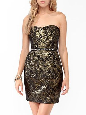 This black and gold jacquard-print dress looks way more expensive that $33, so consider it the jackpot of dress options this holiday.