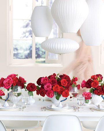 Centerpieces Lush vermelho e rosa