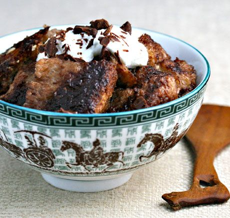 Slow cooker chocolate and Nutella® bread pudding