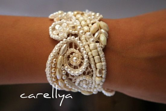 ? this!! Vintage Lace Bridal CUFF Beaded Hand Embroidered by carellya, $95.00