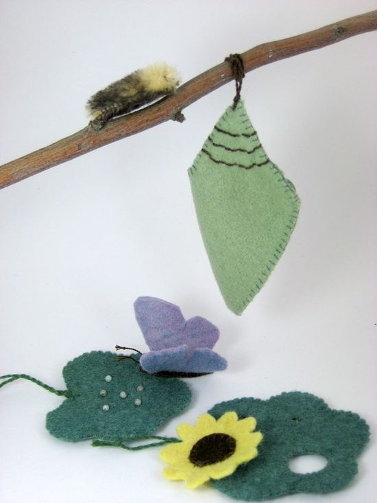 Butterfly lifecycle play set from natural materials.